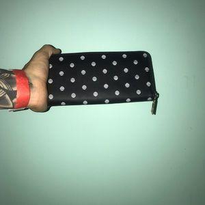 Black and white pok a dot wallet